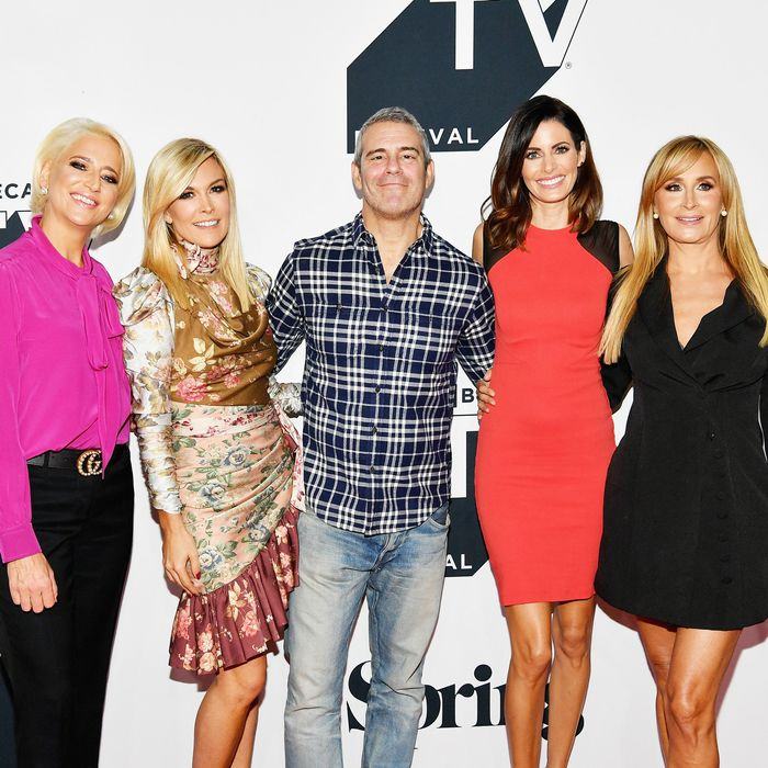 The cast of The Real Housewives of New York with Andy Cohen and Lisa Shannon.