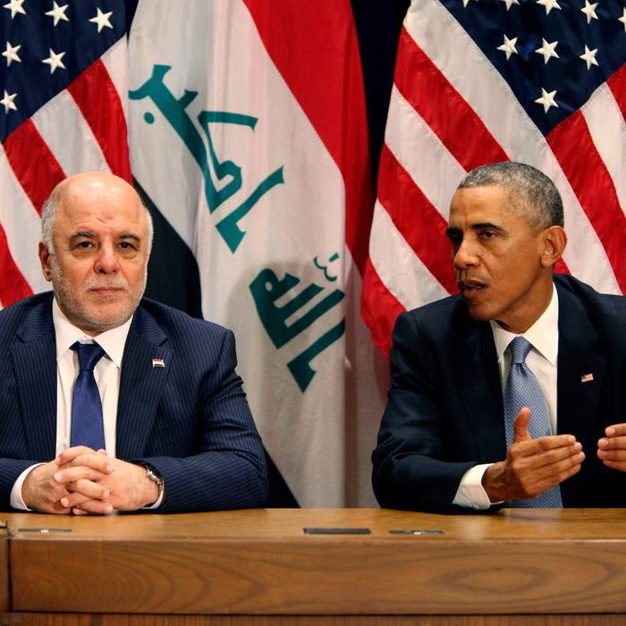 U.S. President Barack Obama (R) holds a bilateral meeting with Prime Minister of Iraq Haider al-Abadi during the 69th United Nations General Assembly at United Nations Headquarters on September 24, 2014 in New York City. The annual event brings political leaders from around the globe together to report on issues meet and look for solutions. This year's General Assembly has highlighted the problem of global warming and how countries need to strive to reduce greenhouse gas emissions.