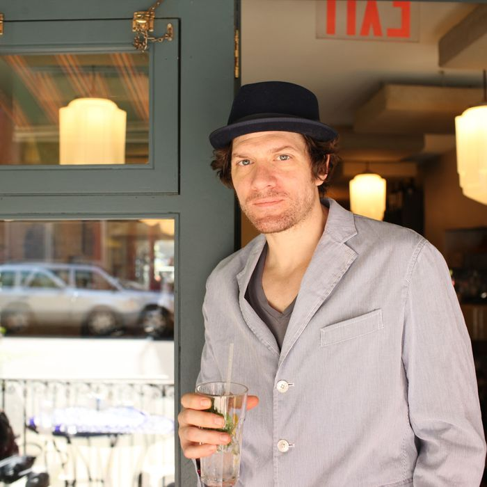 Adam Rapp outside Cafe Mogador.