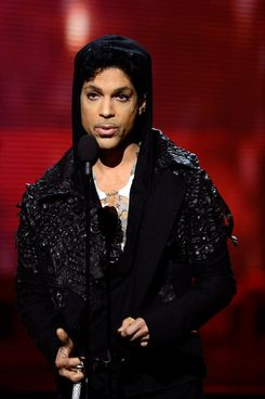 Musician Prince speaks onstage at the 55th Annual GRAMMY Awards at Staples Center on February 10, 2013 in Los Angeles, California.