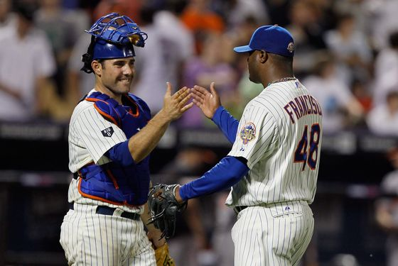 NEW YORK, NY - JUNE 20: Frank Francisco #48 of the New York Mets and Mike Nickeas #4 celebrates after defeating the Baltimore Orioles at CitiField in interleague play on June 20, 2012 in the Flushing neighborhood of the Queens borough of New York City. Mets defeated the Orioles 4-3. (Photo by Mike Stobe/Getty Images)