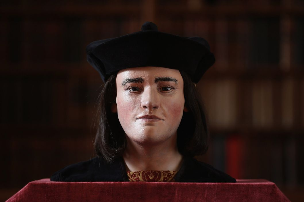 A facial reconstruction of King Richard III is unveiled by the Richard III Society on February 5, 2013 in London, England. After  carrying out a series scientific investigations on remains found in a car park in Leicester, the University of Leicester announced yesterday that they were those of King Richard III. King's Richard III's remains are to be re-interred at Leicester Catherdral.
