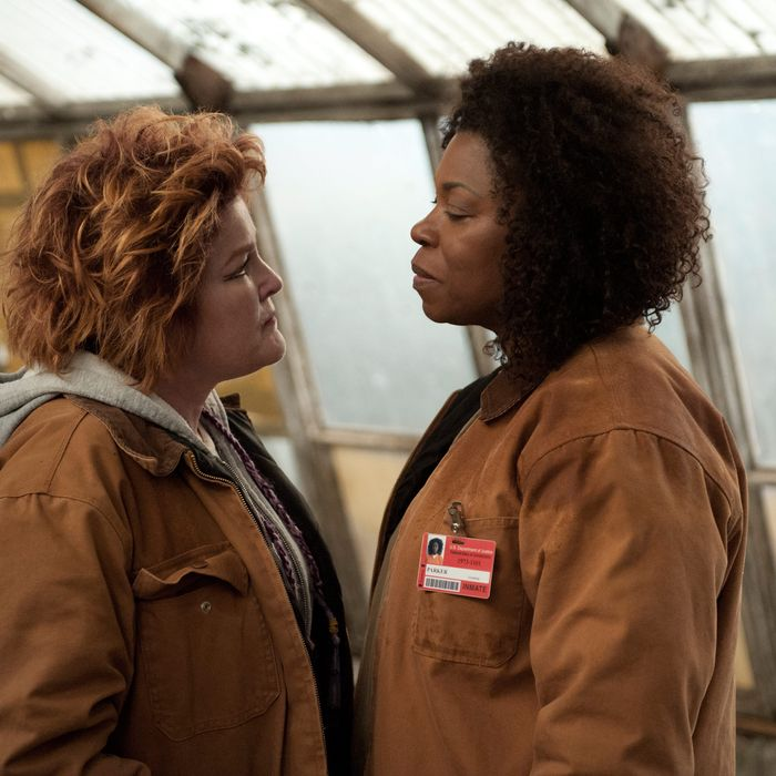 """Kate Mulgrew (L) and Lorraine Toussaint (R) in a scene from Netflix's """"Orange is the New Black"""" Season 2. Photo credit: JoJo Whilden for Netflix."""