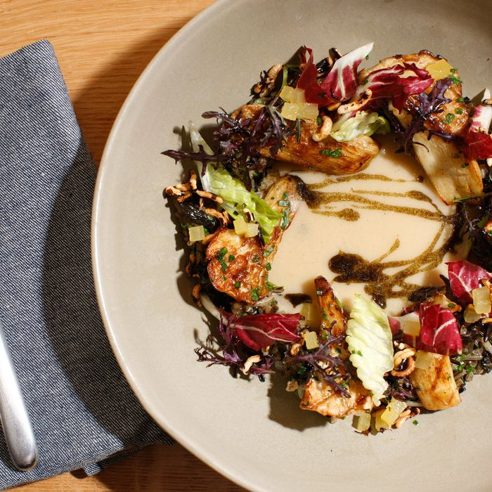 Grilled nebrodini mushrooms with wild rice, chestnuts, sunchokes, mustard, and apples.