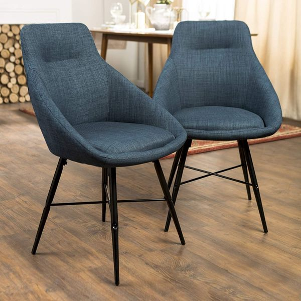 Walker Edison Furniture Company Mid Century Modern Upholstered Fabric Dining Room Chairs, Set of 2, Blue