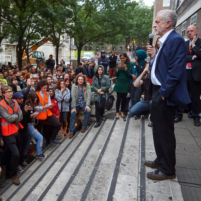 Leader of the opposition Labour Party, Jeremy Corbyn delivers a speech to supporters at the School of Oriental and African Studies (SOAS) in central London on June 29, 2016.