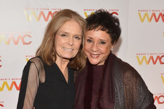 Gloria Steinem and Sheila C. Johnson attend the 2013 Women's Media Awards on October 8, 2013 in New York City.