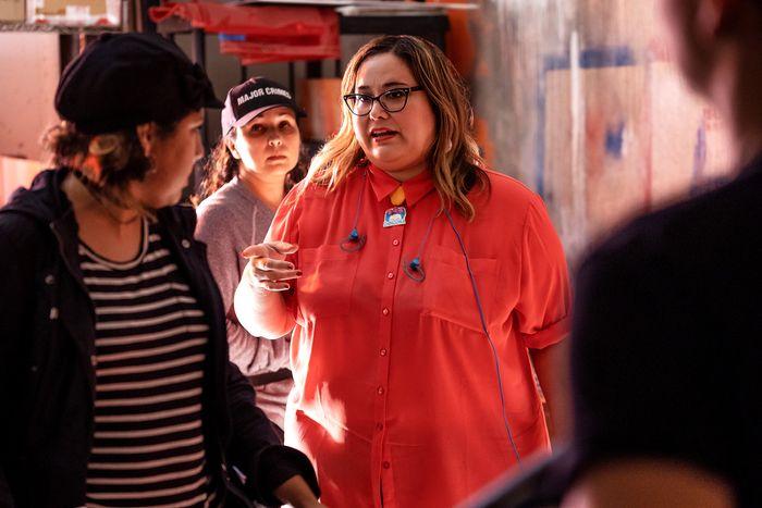 Saracho on the set of Vida.