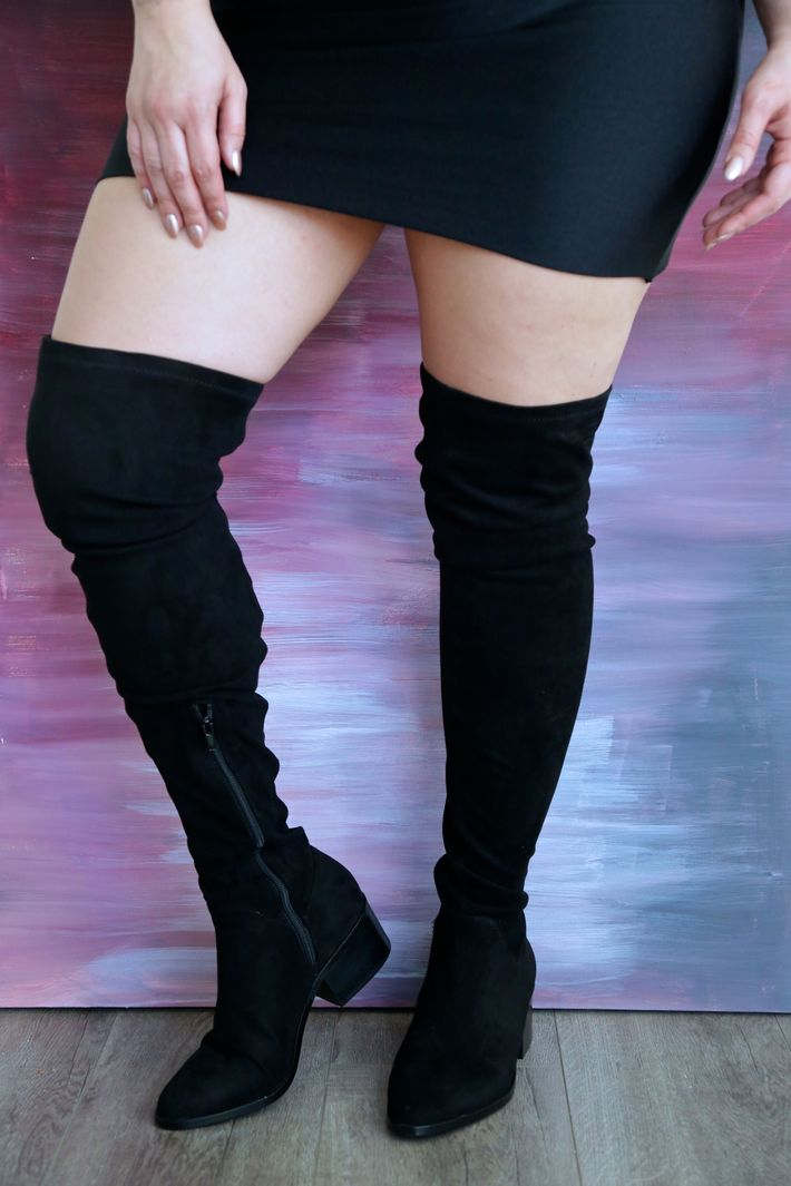 3bb846dd8b9a If you aren't into a tall heel, these Nordstrom thigh-highs are perfect.  They come in a black stretch material that goes with just about any dress  or pair ...