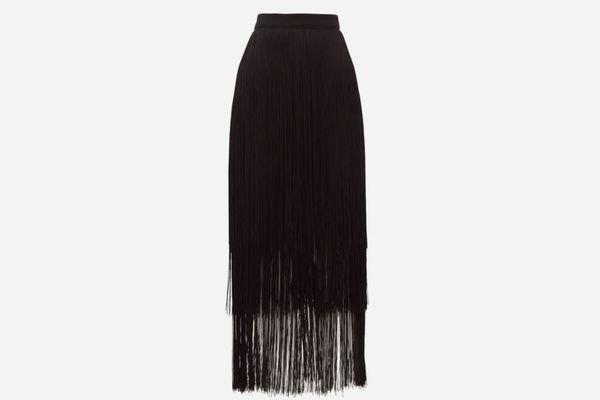 Raey Long-Fringe Midi Pencil Skirt