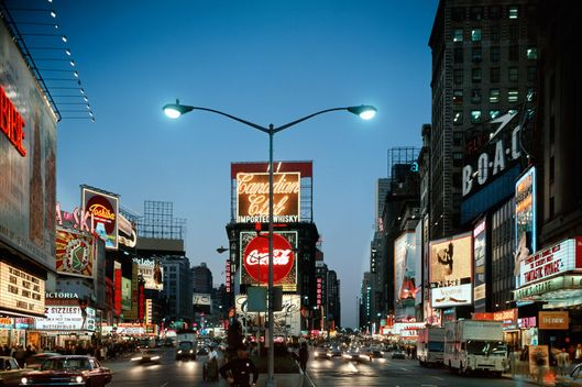 1966 Night At Times Square Manhattan Broadway At 45th Street Looking North.