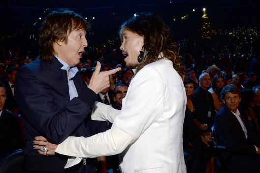 Recording Artists Paul McCartney And Steven Tyler Attend The 56th GRAMMY Awards At Staples Center On