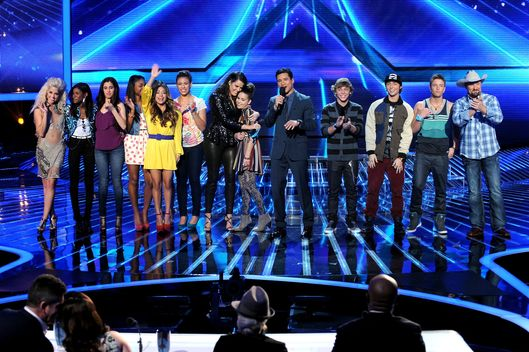 "(L-R) Top 6 contestants CeCe Frey, Diamond White, Fifth Harmony, host Khloe Kardashian, contestant Carly Rose Sonenclar, host Mario Lopez and contestants Emblem 3 and Tate Stevens onstage at FOX's ""The X Factor"" Season 2 Top 8 to 6 Live Elimination Show on November 29, 2012 in Hollywood, California."
