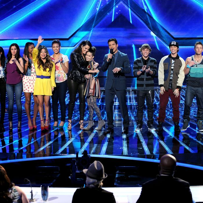 (L-R) Top 6 contestants CeCe Frey, Diamond White, Fifth Harmony, host Khloe Kardashian, contestant Carly Rose Sonenclar, host Mario Lopez and contestants Emblem 3 and Tate Stevens onstage at FOX's