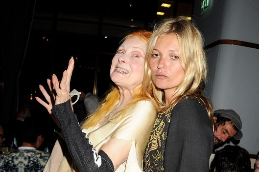 Dame Vivienne Westwood (L) and Kate Moss attend as Naomi Campbell hosts an Olympic Celebration Dinner in partnership with Fashion For Relief, Interview Magazine and Downtown Mayfair celebrating the amazing accomplishments of Team GB on August 9, 2012 in London, United Kingdom.