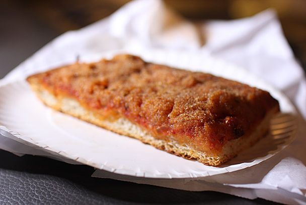 "<b>Palermo Pizza</b>    <a href=""http://www.menupages.com/restaurants/famous-bens-pizza/"">Famous Ben's</a>    <i>New York</i>  With its notorious Palermo slice, this tourist-targeting Soho joint serves the city's truest example of Sicilian <i>sfincione</i>, a cheese-less brick on a pan-fried crust. Deceivingly simple looking, the slice packs a punch through its flavorful base of finely diced anchovies, garlic, and sweet onions, under a sprinkle of breadcrumbs."