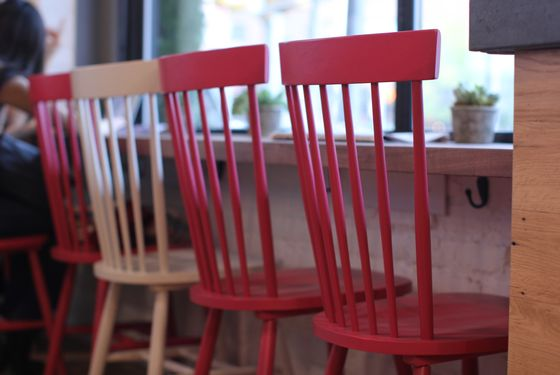 Hot pink chairs, of course.