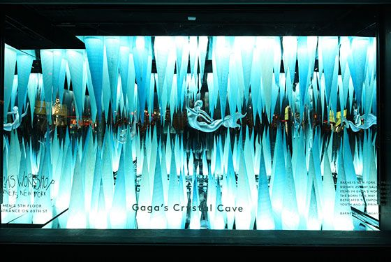 Barneys' holiday windows continue the Lady Gaga theme seen inside at Gaga's Workshop. The windows were a collaboration between Nicola Formichetti and Barneys' Creative Director Dennis Freedman.