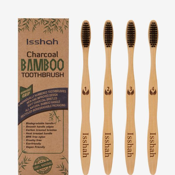 Isshah Biodegradable Eco-Friendly Natural Bamboo Charcoal Toothbrush