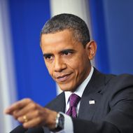 US President Barack Obama takes a reporter's question during a press conference in the Brady Briefing Room of the White House in Washington, DC. AFP PHOTO/Mandel NGAN (Photo credit should read MANDEL NGAN/AFP/Getty Images)