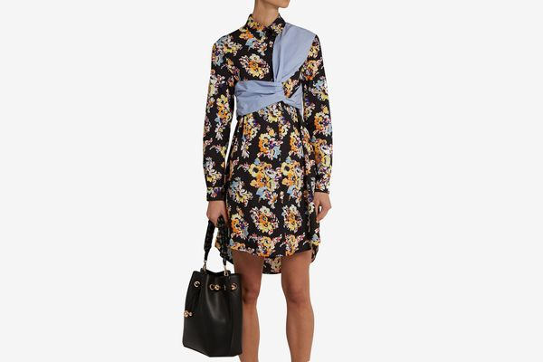 MSGM Floral-print twisted-panel cotton shirtdress