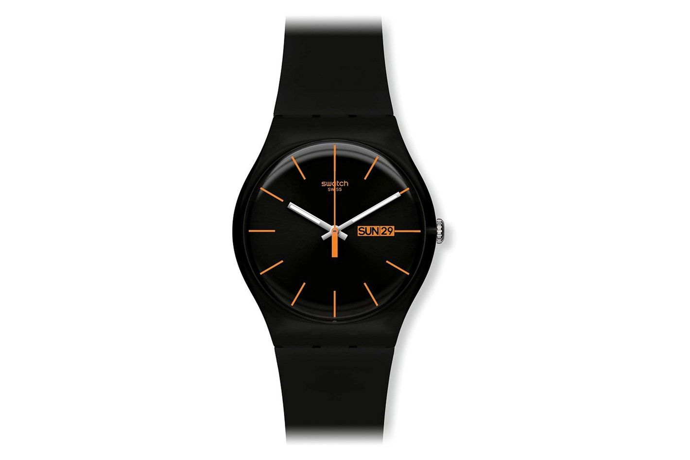 Swatch SUOB704 Dark Rebel Black Silicone Strap Black Dial Unisex Watch