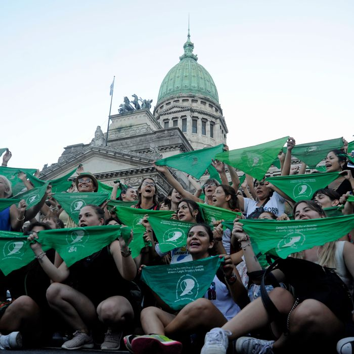 Women protesting for abortion rights in Argentina.