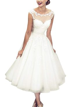 Abaowedding Sheer Vintage Short Lace Wedding Dress