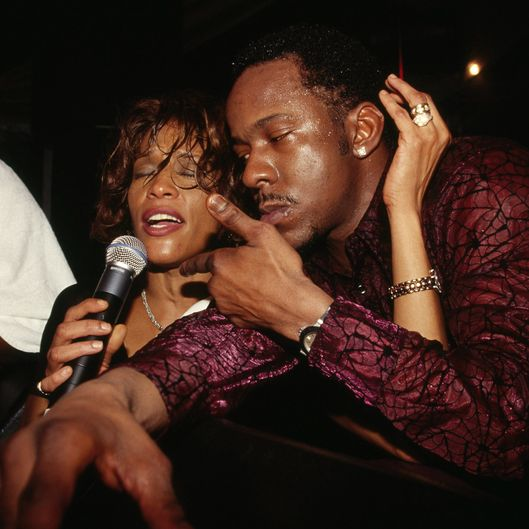 Singer Whitney Houston and Bobby Brown attend the rebirth of the Ocean Club Resort on December 9, 2000 in Paradise Island, Bahamas