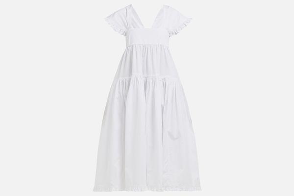 Mimi ruffled cotton-poplin midi dress