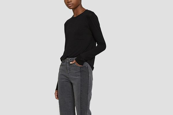 T by Alexander Wang Classic Cropped Longlseeve Tee in Black