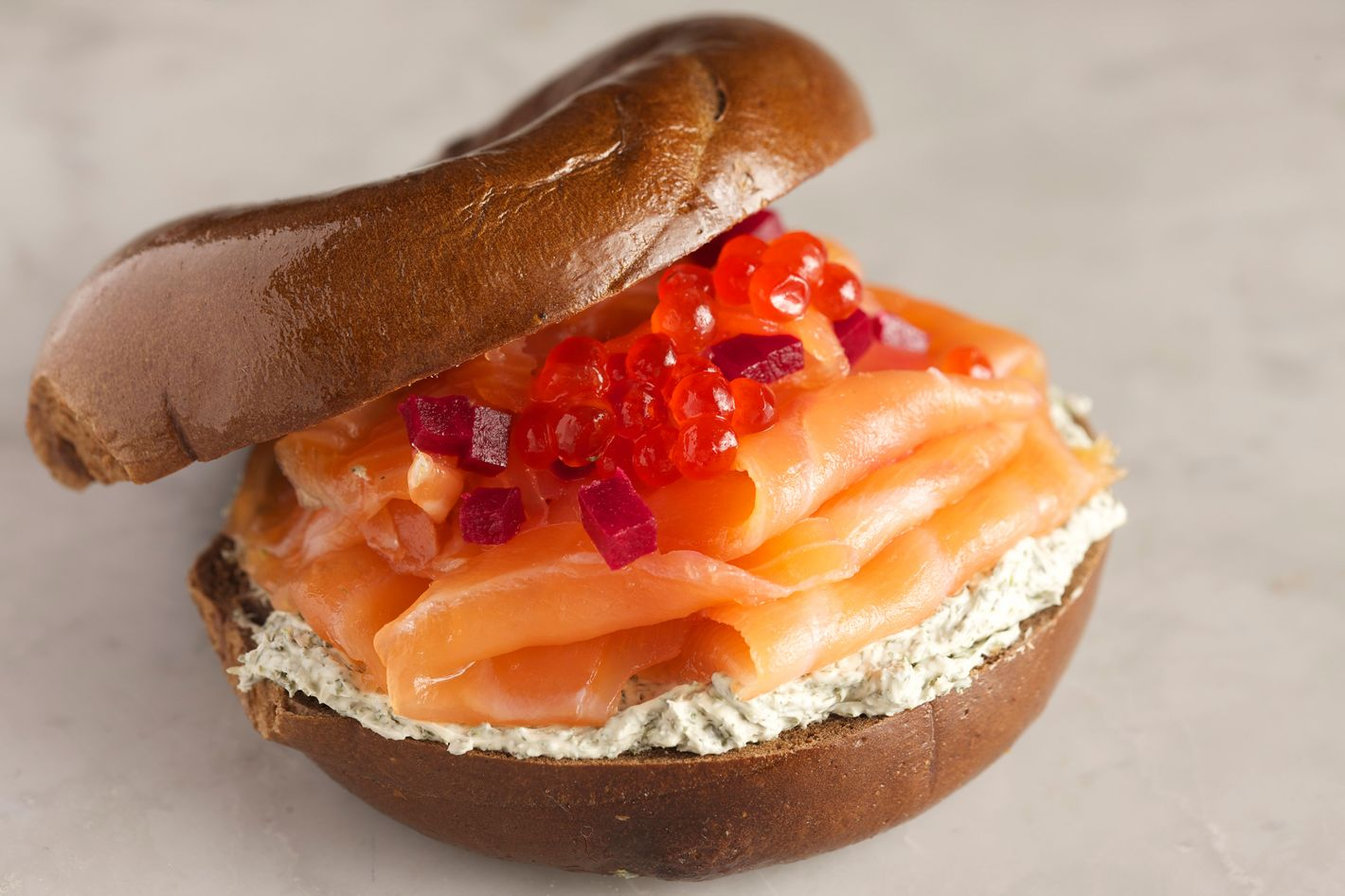 Go for the Czar: sliced nova, pickled beets, salmon roe, and parsley-dill cream cheese on a pumpernickel bagel.