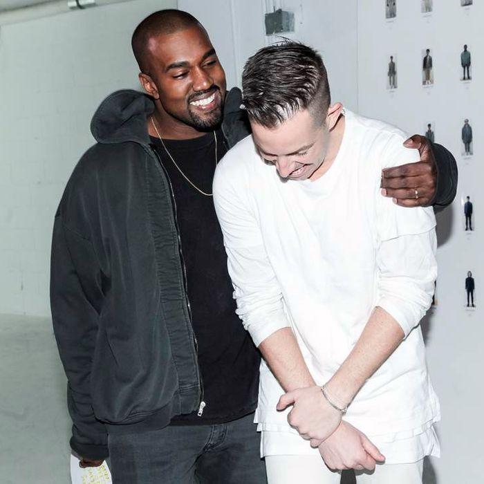 Kanye West with designer John Elliott.