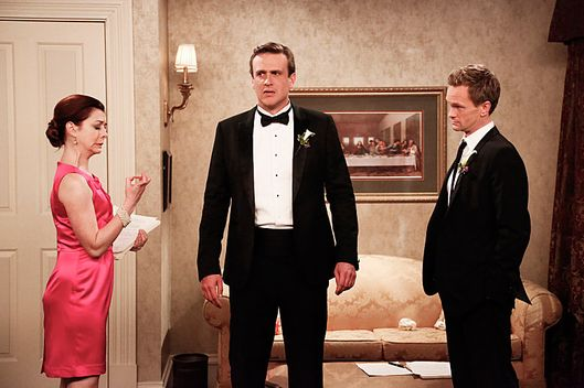 """The End of the Aisle"" ???€?"" With only a half-hour to go, both Barney and Robin have panic attacks about their upcoming nuptials. Meanwhile, Marshall and Lily rewrite their old wedding vows, on the final season of HOW I MET YOUR MOTHER, Monday, xx (8:00-8:30 PM, ET/PT) on the CBS Television Network.  Pictured: Alyson Hannigan as Lily, Jason Segel as Marshall, Neil Patrick Harris as Barney. Photo: Richard Cartwright/CBS ?'??2014 CBS Broadcasting, Inc. All Rights Reserved"