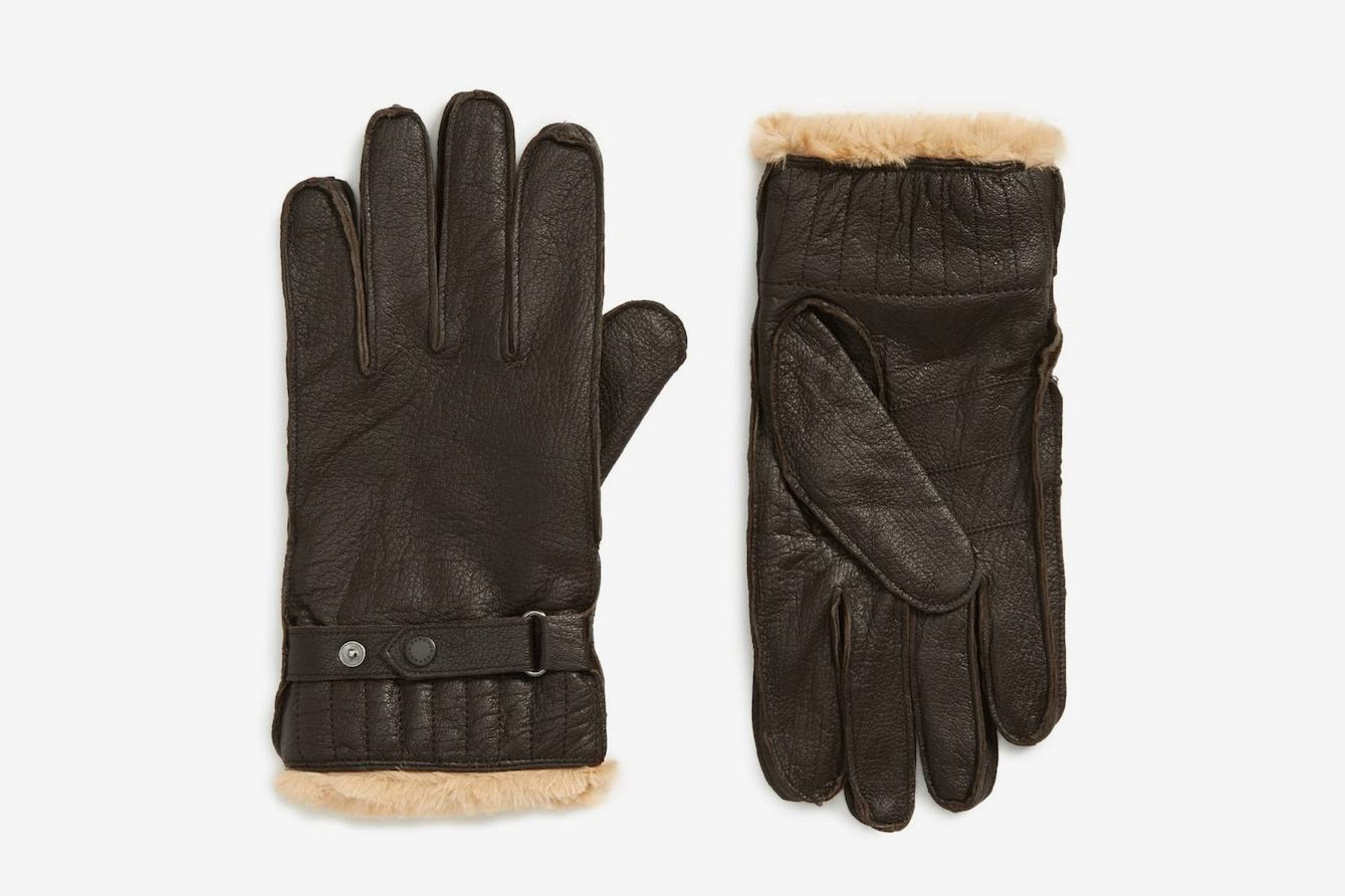 Barbour Leather Faux Fur Trim Gloves