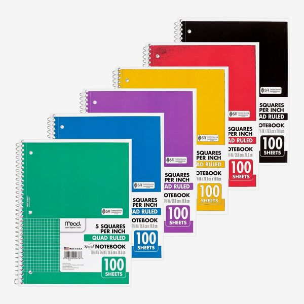 Mead Spiral Notebook, 1 Subject, Quad Ruled, 100 Sheets, Grid Notebook with Engineering Graph Paper