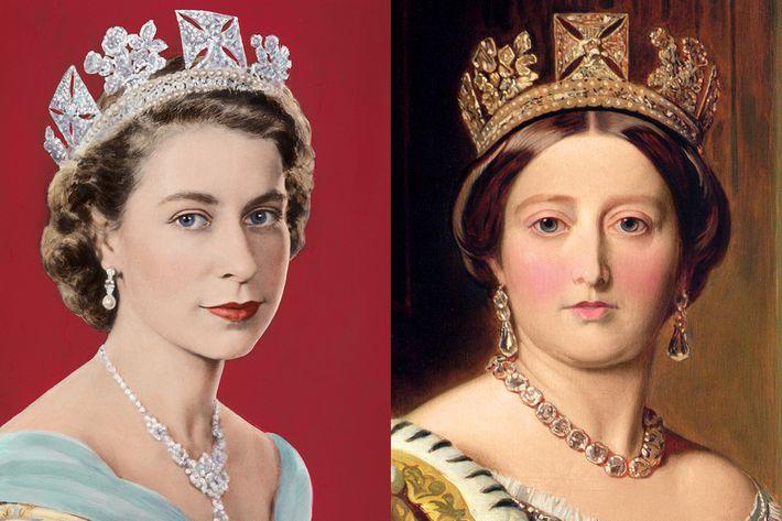 From left: Queen Elizabeth II, Queen Victoria.