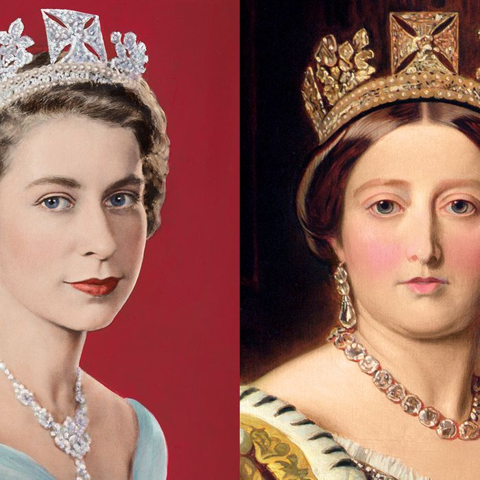 From left: Queen Elizabeth II, Queen Victoria.