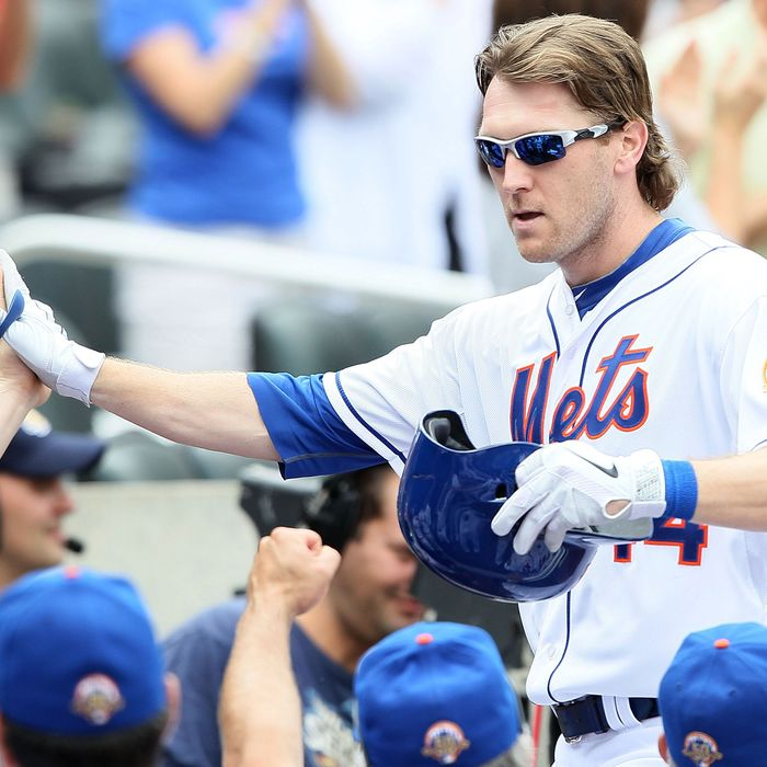 NEW YORK, NY - SEPTEMBER 22: Jason Bay #44 of the New York Mets celebrates a home run with teammates against the Miami Marlins at Citi Field on September 22, 2012 in the Flushing neighborhood of the Queens borough of New York City. (Photo by Alex Trautwig/Getty Images)