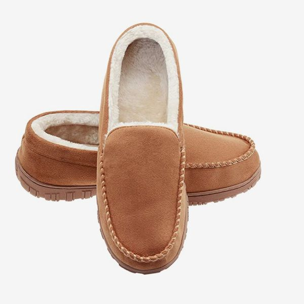 LULEX Mens Slippers Moccasin Plush Micro Suede