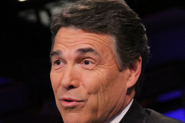 "NEW YORK, NY - NOVEMBER 18:  Rick Perry visits ""Cavuto"" on FOX Business at FOX Studios on November 18, 2011 in New York City.  (Photo by Rob Kim/Getty Images)"