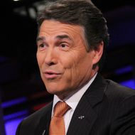 """NEW YORK, NY - NOVEMBER 18:  Rick Perry visits """"Cavuto"""" on FOX Business at FOX Studios on November 18, 2011 in New York City.  (Photo by Rob Kim/Getty Images)"""
