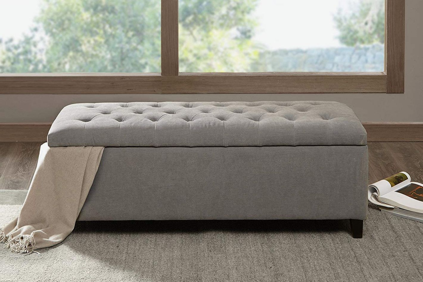 Madison Park Shandra Tufted Top Storage Bench Grey