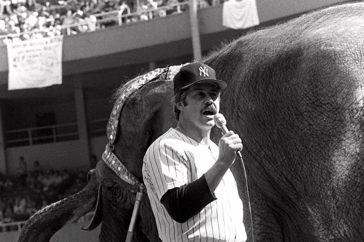 "Jim ""Catfish"" Hunter of the New York Yankees, who was to retire at the end of the 1979 season, was honored Sept. 16, 1979 before the start of the game against the Detroit Tigers in New York. Along with a truck, car, television, two shotguns and other gifts, he received a 5,500-pound elephant."