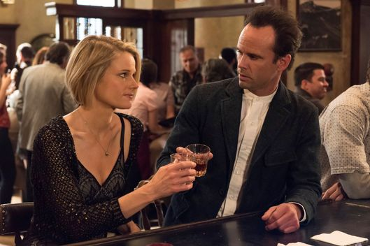 "JUSTIFIED -- ""Burned"" -- Episode 609 (Airs Tuesday, March 17, 10:00 pm e/p) -- Pictured: (L-R) Joelle Carter as Ava Crowder, Walton Goggins as Boyd Crowder -- CR: Prashant Gupta/FX"