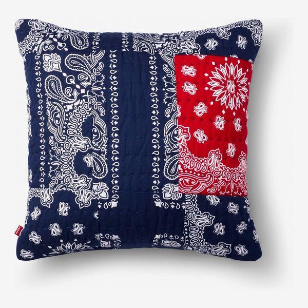 Levi's x Target Patchwork Bandanna-Print Throw Pillow, Blue