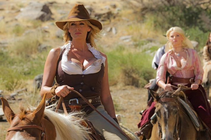 Stormy Daniels in a scene from her movie <em>Wanted</em>.