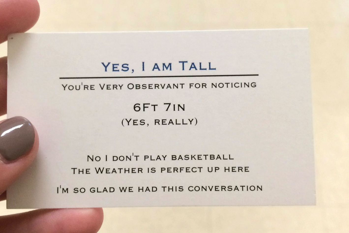 Tall Teenager Has Business Cards If You Ask About His Height