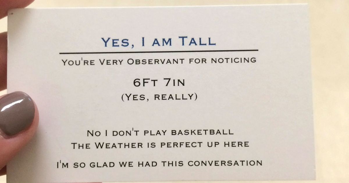 Teenager Has Business Cards If You Ask About His Height