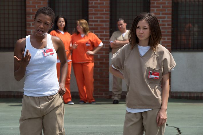 Samira Wiley as Poussey, Kimiko Glenn as Brook.